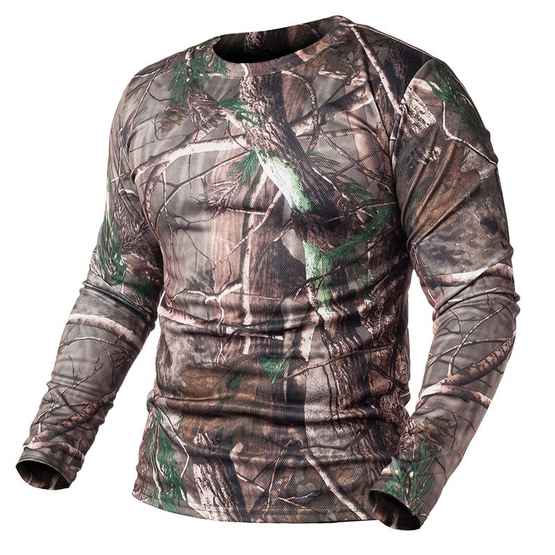 Spring Autumn Man Long Sleeve Outdoor Camouflage T-shirt Men Quick Dry Round Neck Camo Hunting Hiking Camping Fishing Male Shirt