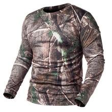 Мужские на сезон осень-весна, уличная камуфляжная футболка с длинными рукавами, Мужская быстросохнущая камуфляжная футболка с круглым вырезом для охоты, походов, Кэмпинга, мужская рубашка для рыбалки