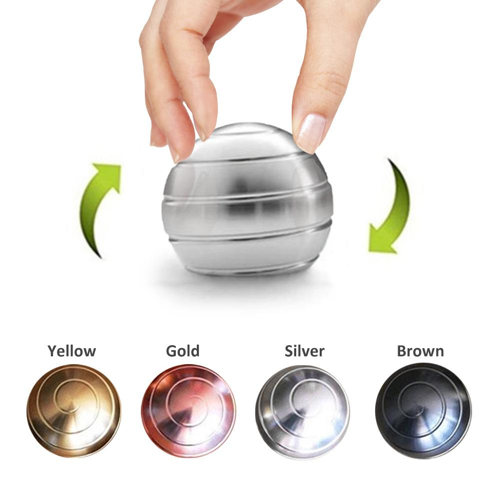 New Desktop Decompression Rotating Spherical Gyroscope Kinetic Desk Toy Metal Gyro Optical Illusion Flowing Finger Toy For Adult