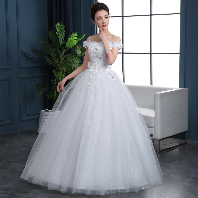 Ball-Gown Wedding-Dresses Robes-De-Mariee Sequined Tulle Appliques The-Shoulder Boat