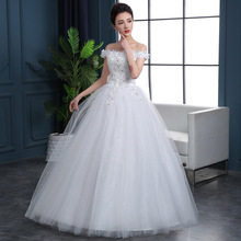 Robes De Mariee Flower Appliques Sequined Wedding Dresses Boat Neck Off The Shoulder Ball Gown Tulle Beaded Bride Gowns 2019