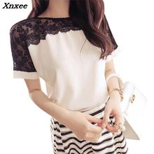 Women chiffon T-shirt casual summer lace shirt fashion tops plus size womens clothing Xnxee