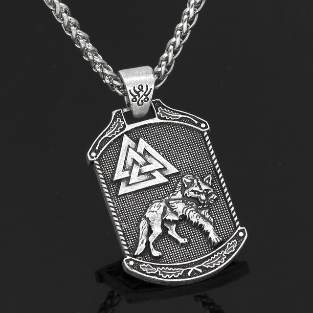 NORDIC VIKING ODIN WOLF VALKNUT  NECKLACE