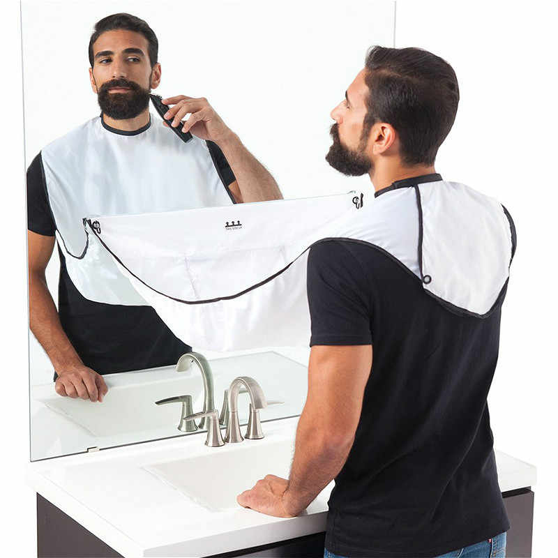 SUEF 1pcs 120x80cm Man Bathroom Apron Male Black Beard Apron Hair Shave Apron Man Waterproof Floral Cloth Household Protector@2