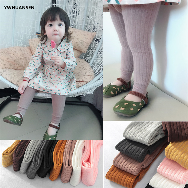 YWHUANSEN 0-6T Spring Autumn Striped Leggings Toddler Girl Cotton Infant Newborn Kids Strumphose Knitted Skinny Pants For Babies