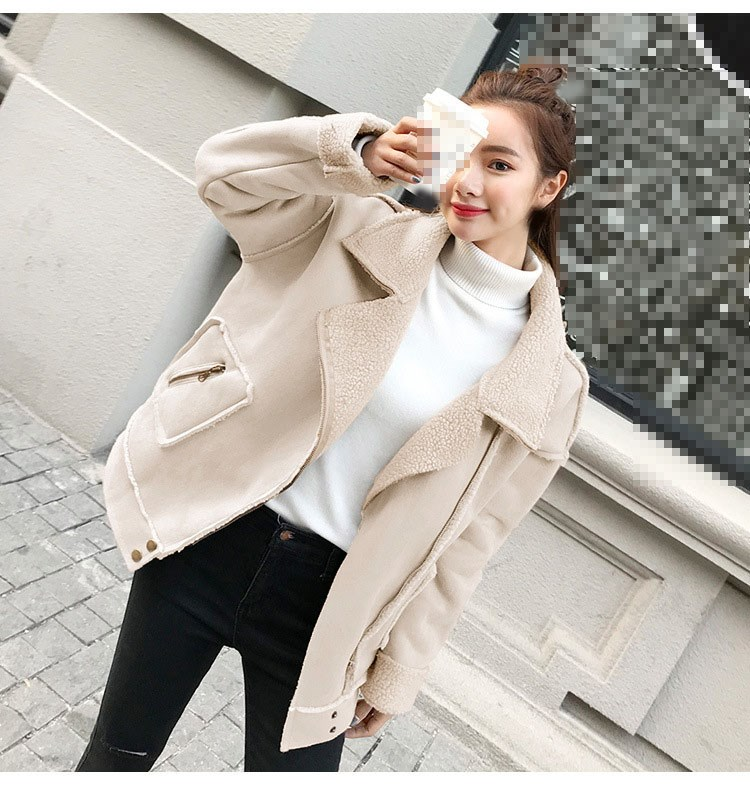 New 2018 Winter Faux   Suede     Leather   Jacket Women Short Lamb Motorcycle Biker Jacket Thick Lambs Warm Coat