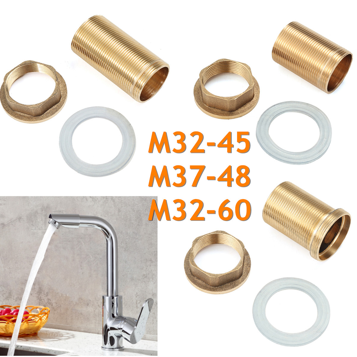 Copper Kitchen Basin Mixer Tap Repair Fitting Kit Faucet Threaded Brass Tube Nut Washer Parts Home Kitchen Faucet Accessories