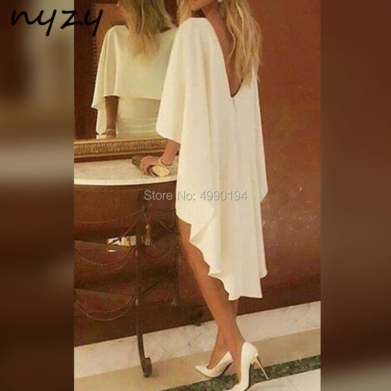 NYZY C36 Cocktail Dresses Cape Cloak Sleeves Off White Jersey Wedding Party Dress Graduation Homecoming Evening 2019