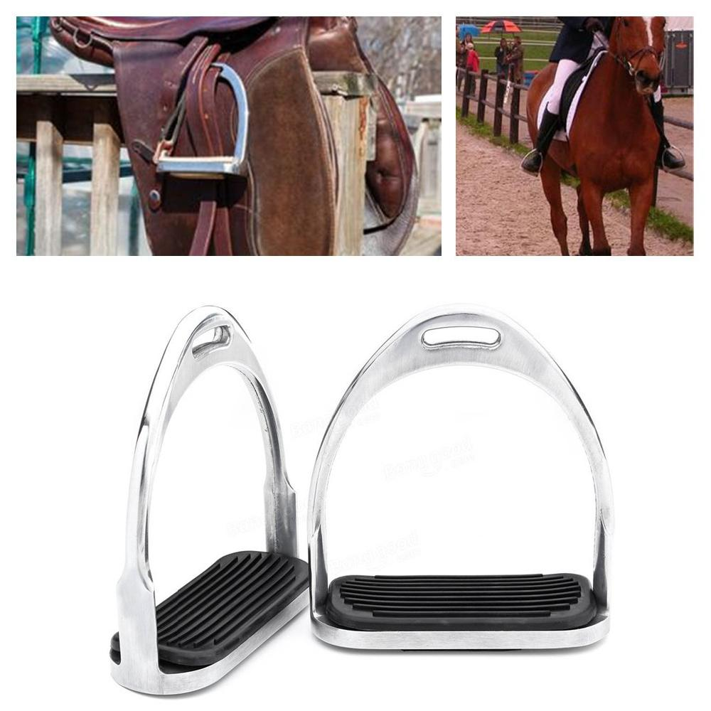 1 Pair 120mm Stainless Steel Horse Stirrup Riding Equipment Equestrian Stirrups Anti slip Black Rubber Pad Horse Accessories-in Saddles from Sports & Entertainment