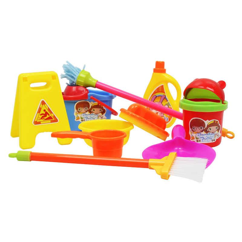 10 stücke Mini Puppe Zubehör Haushalt Reinigung Werkzeuge Für Puppe Zubehör Sauber Kits Puppenhaus Kinder Kinder Pädagogisches Spielzeug