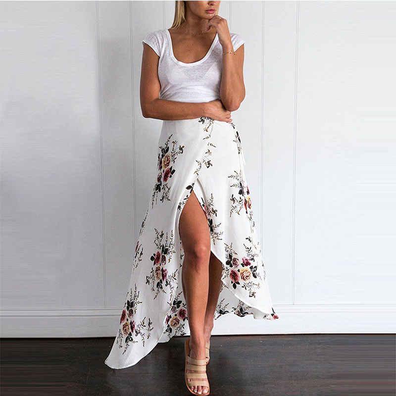2018 חדש קיץ חם נשים למתוח גבוהה מותן פרחוני ארוך חצאית מקסי קפלים חוף מזדמן Boho פוליאסטר מקיר לקיר-אורך חצאית