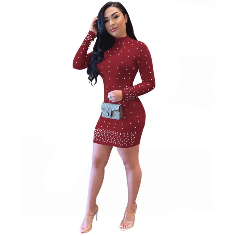 2019 Spring Women Pearl Beading Dress Long Sleeve Sexy Bodycon Party Dresses Women Solid Color Round Neck Midi Dress Plus Size