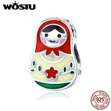 WOSTU Genuine 925 Sterling Silver Beads Matryoshka Russian Girls Fit Women DIY Bracelet Lucky Charms For Jewelry Making CQC1086(China)
