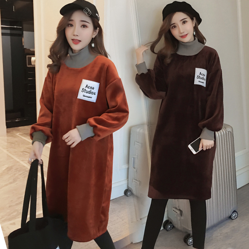 Maternity Wear 2018 Fashion Plus Velvet Thickening Day Maternity Dress Solid Color Goose Day Velvet Long Maternity Dress Vestido цены онлайн