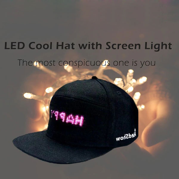 LED Screen Light Cool Hat Smartphone Controlled Waterproof   Baseball     Cap   New
