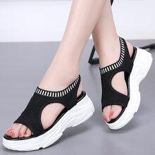 ef4fc06658 2019 Mulheres Verão Sandálias Malha Respirável Moda Elástico Sandálias Das Mulheres  Sapatos de Cunha Sandálias Plataforma
