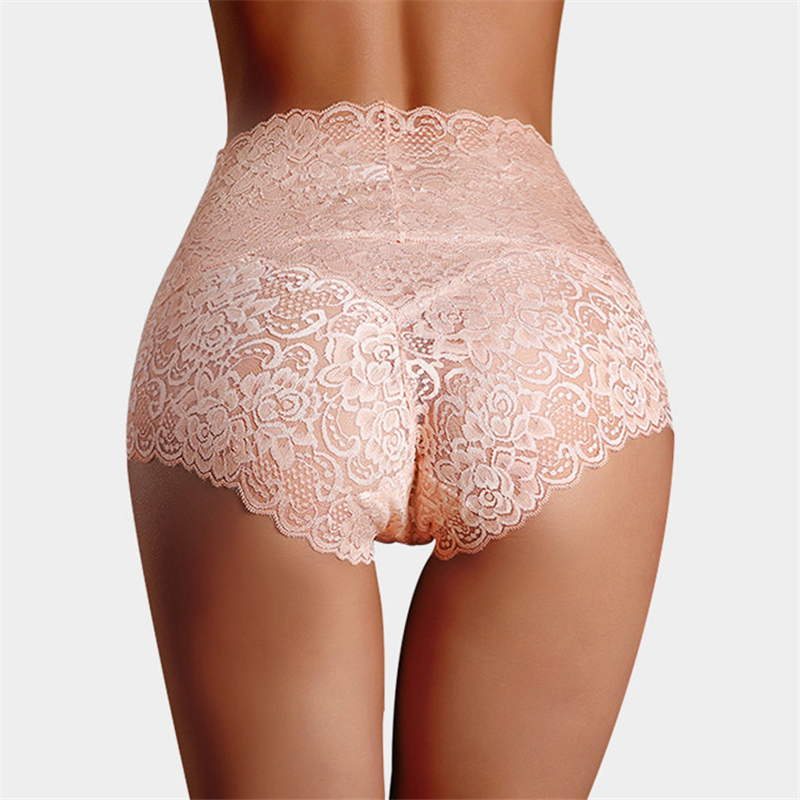 Sexy Lace Underwear Women High Waist Knickers Lace Panties Mesh Lingerie Seamless Briefs Sleepwear Elegant Panty Plus Size(China)