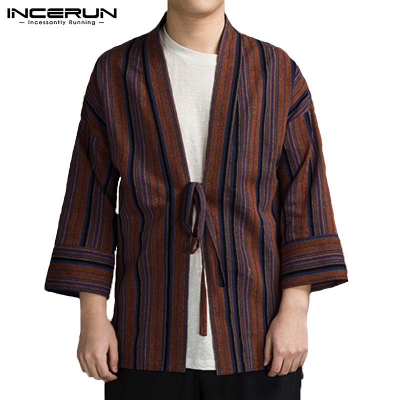 INCERUN Men   Trench   Coat Striped 3/4 Sleeve Lace Up Outerwear Streetwear Chinese Style Men Jackets Windproof Japan Kimono S-5XL