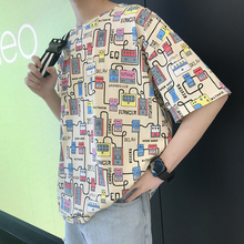 Summer T Shirt Men Fashion Fun Cartoon Print Casual Short-sleeved Tshirt Man Streetwear Hip Hop Loose Cotton T-shirt Male Tops стоимость