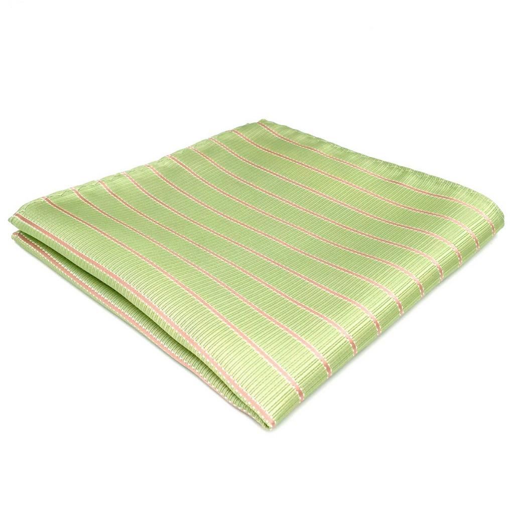 DH19 Light Green Striped Men's Pocket Square Silk Fashion Novelty Groom Handkerchief Dress Hanky