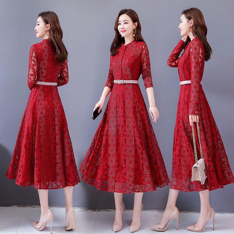 Décontracté 2906 Rouge Bleu Noir Femme Mode Bordeaux Mince Solide Robe Tendance Pour Robes Nouveau dOTwq7nSd