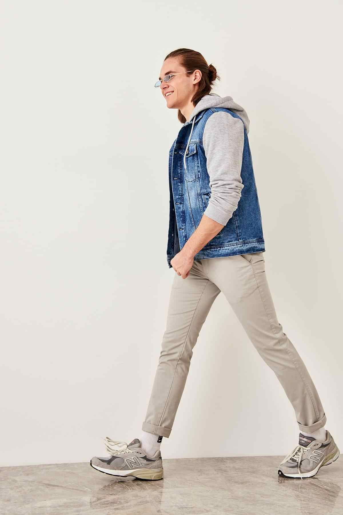 Trendyol cinza masculino chino calças tmnss19ov0001