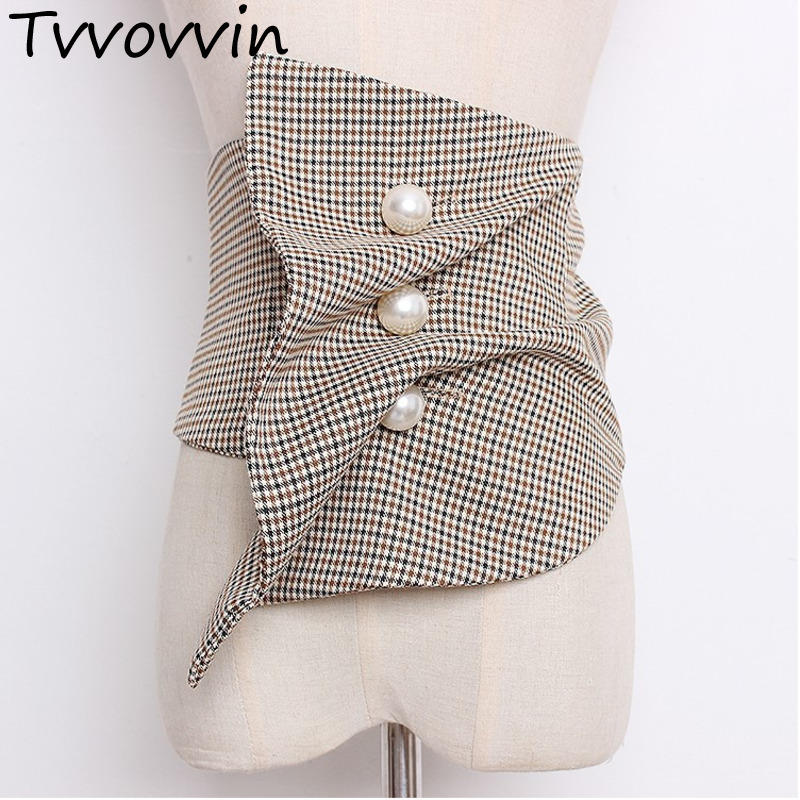 2019 Elastic Wide Girdle Pearl Button Folds Irregular Cummerbunds New Fashion All-match Female's Cloth Accessories E001