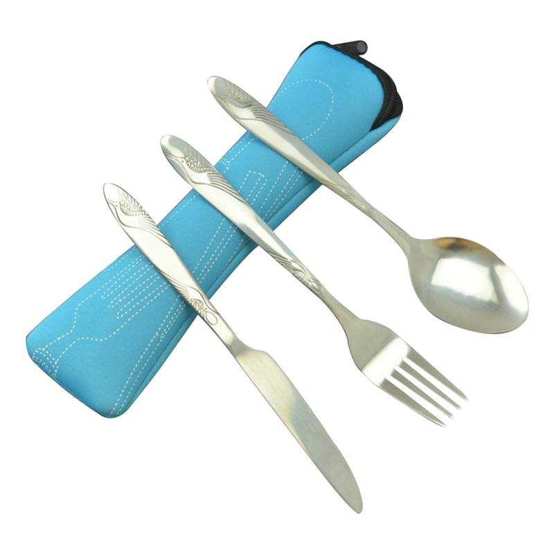 3 PCS Stainless Steel Tableware Set Portable Lunch Cutlery Set Dinnerware Set Travel Silverware For Camping Office
