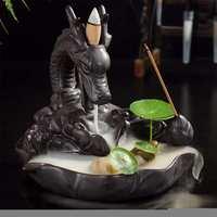 Ceramic Backflow Incense Stick Holder Retro Handmade Porcelain Ceramic Backflow Buddhist Decoration Home Aromatherapy refluxo