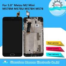 "5.0 ""המקורי M & סן לmeizu M2 מיני M578M M578U M578H M578 LCD מסך תצוגה + מגע פנל digitizer מסגרת עבור Meizu M2 מיני"