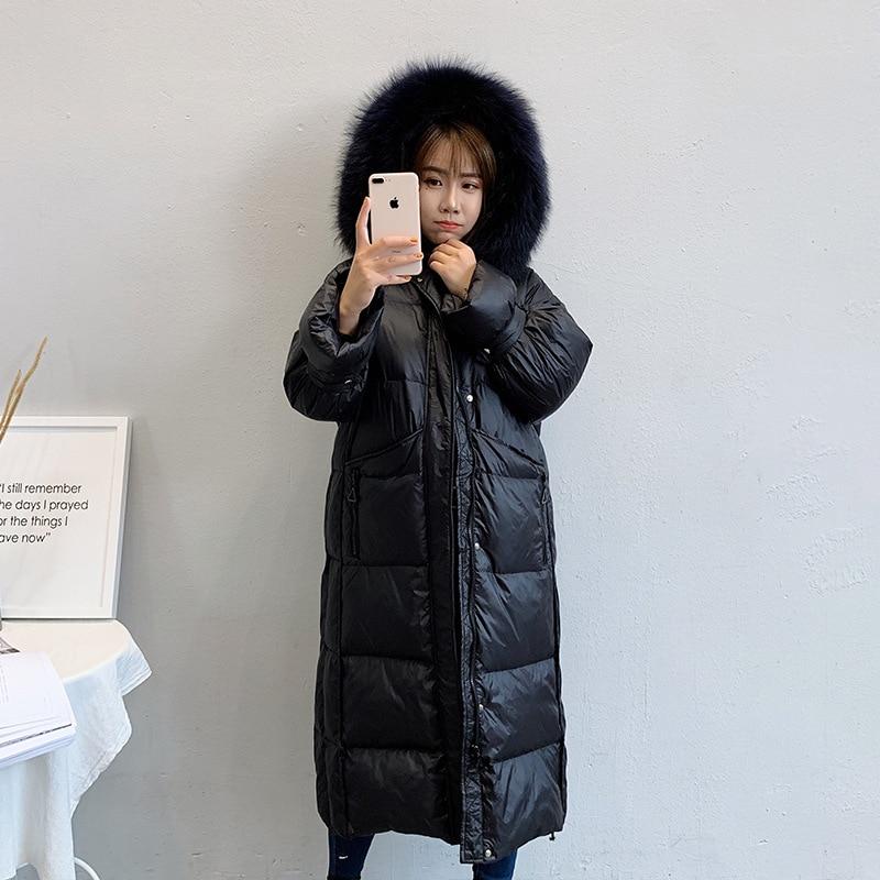 Femmes À Hiver Bas Épaississement bleu Coton Manteau D'hiver Col Long 2018 Fourrure Veste Le Survêtement Parkas rose Capuchon Noir blanc Vers Femelle De dqXXpSw