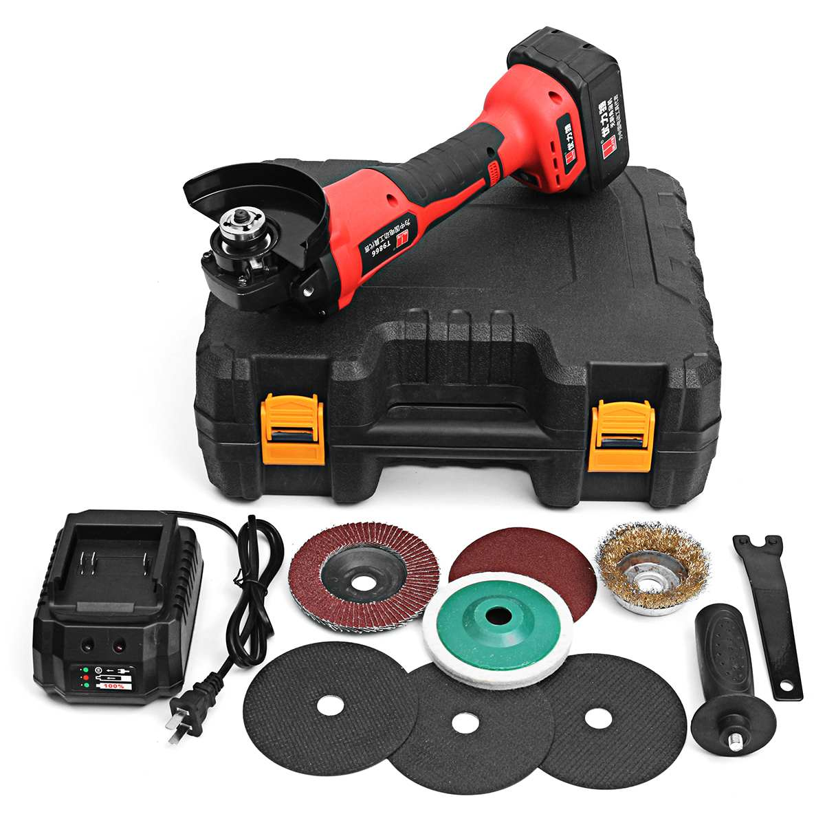 Rechargable 21V Cordless Brushless Grinder With 3.0Ah Lithium Li-ion Battery 100mm Angle Grinding Cutting Machine Kit Box