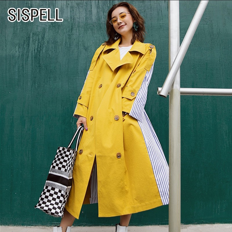 SISPELL Patchwork Striped Women's Windbreaker Coats Lapel Long Sleeve High Waist Bandage   Trench   Coat Korean Fashion Clothes Tide
