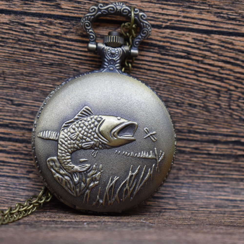 Pocket & Fob Watches Vintage Bronze Fish Pocket Watche For Man/Woman Watch Pendant