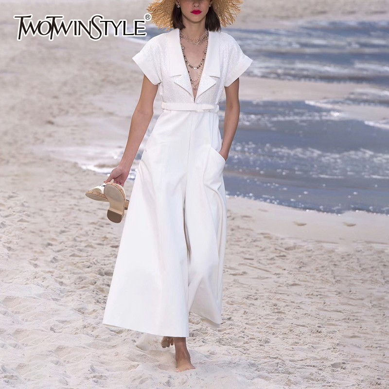 TWOTWINSTYLE Casual Solid   Jumpsuits   For Women Lapel Short Sleeve Big Size High Waist Wide Leg Pants Female Fashion 2019 Spring