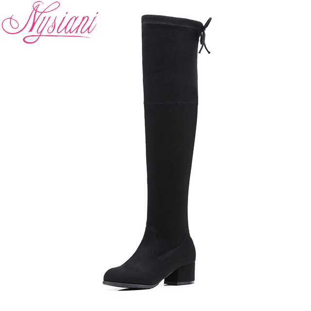 2018 Round Toe Over The Knee Boots For Women Med Heels Back Lace Up Fashion Thigh High Long Black Boots For Women Nysiani