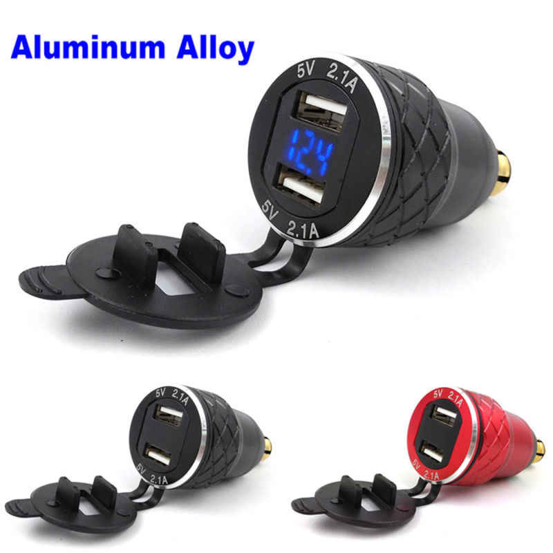 1* Aluminum Alloy Shell Metal CNC 4.2 amp Dual USB Adapter for motorcycle Hella / DIN For BMW F800GS F650GS F700GS R1200GS Plug