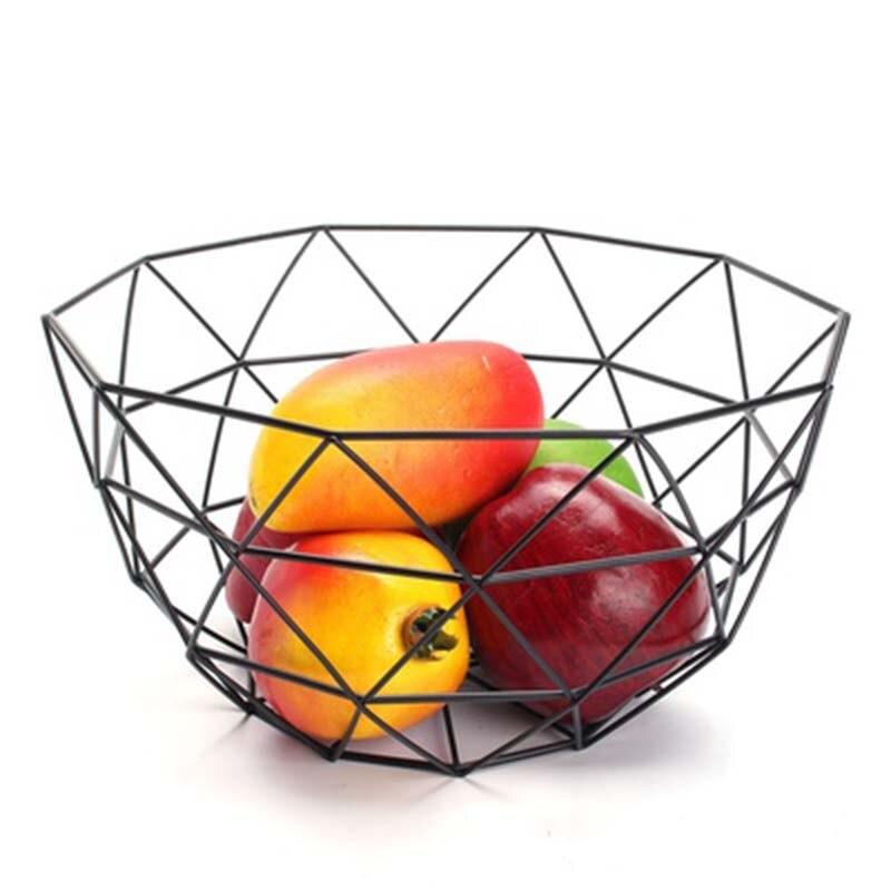JEYL Nordic Estilo Cesta de Frutas Fio Tigela De Exibição Rack de Frutas Legumes Cesta De Armazenamento de Metal Decorado Preto Mesa de Jantar Decoração