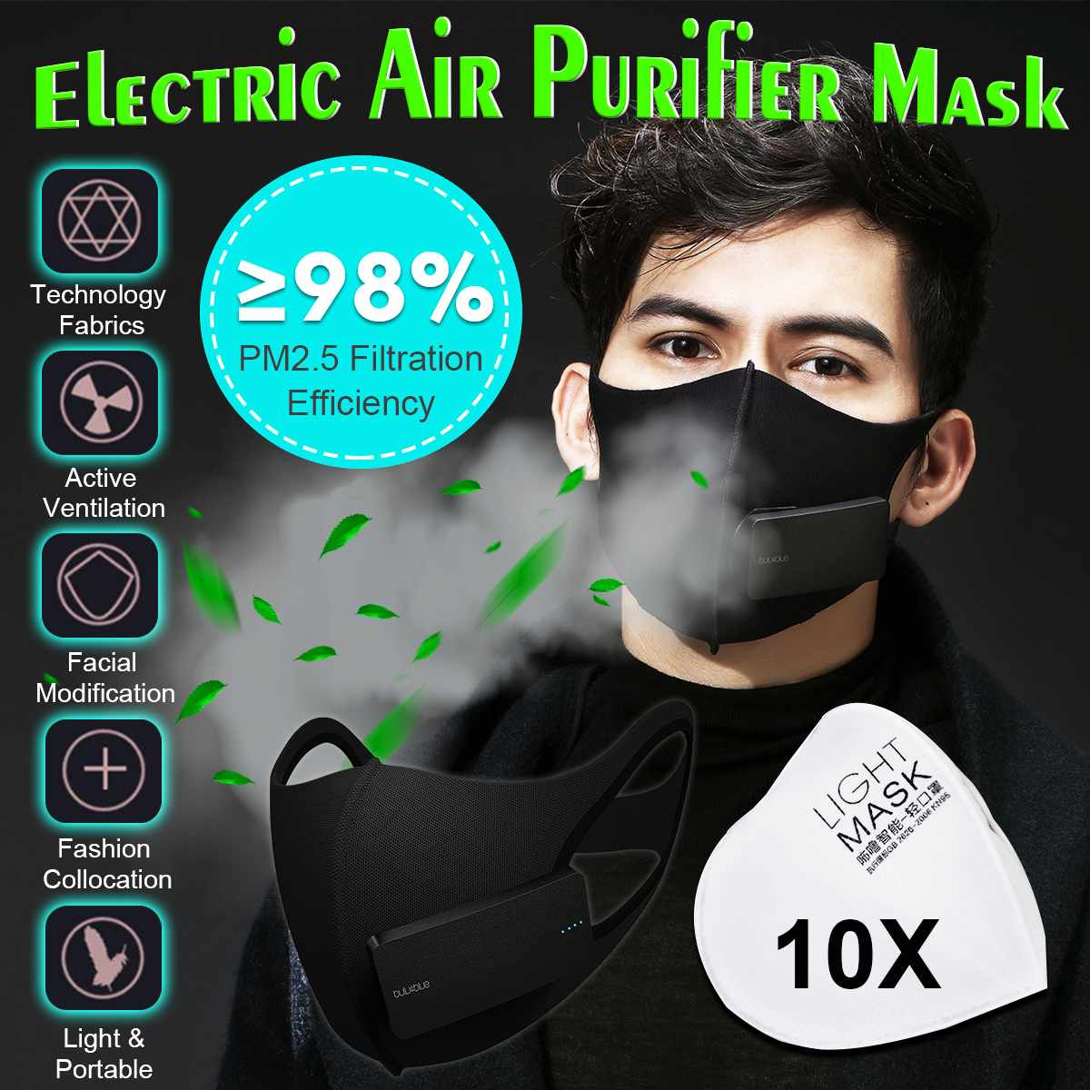 Workplace Safety Supplies Hot Dust Mask Usb Electric Air Purifying Face Masks Anti-fog Haze Pm2.5 Pm0.3 Pollen Breathable Valve Mask Anti Dust Pollution