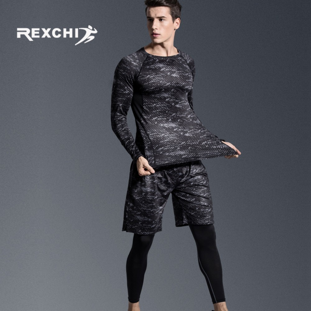 REXCHI 5 pcs/ensemble Hommes de Survêtement costume de Sport Gym Fitness vêtements de compression Courir Jogging Sport Wear Exercice collant d'entraînement - 4