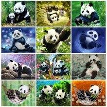 Huacan Diamond Embroidery Animal Full Square Picture Mosaic Rhinestone Home Decoration Painting Panda