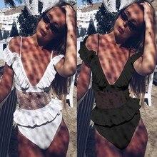 Belleziva Bikinis Mujer 2019 White Mesh Swimsuit Sexy Bodysuit Push Up One Piece Suits Swimwear Bathing Suit Women Monokinis