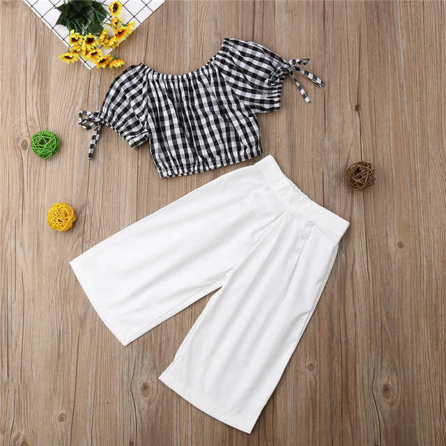 2019 Summer Girls Clothing Set Baby Kids Clothes Suit Children Short Sleeve Plaid T-Shirt Crop Top+Pants roupas infantil meninas 5