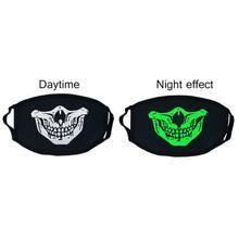 1 шт., модная светящаяся маска унисекс, противопылевая маска для рта, светится в темноте, хлопковая маска для лица, для улицы, для верховой езды, аксессуары для одежды