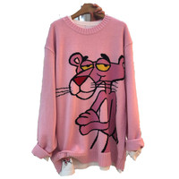 New Korean Pink Panther women sweater Cartoon leopard loose sweater pullover Autumn winter fashion girl clothes tops *