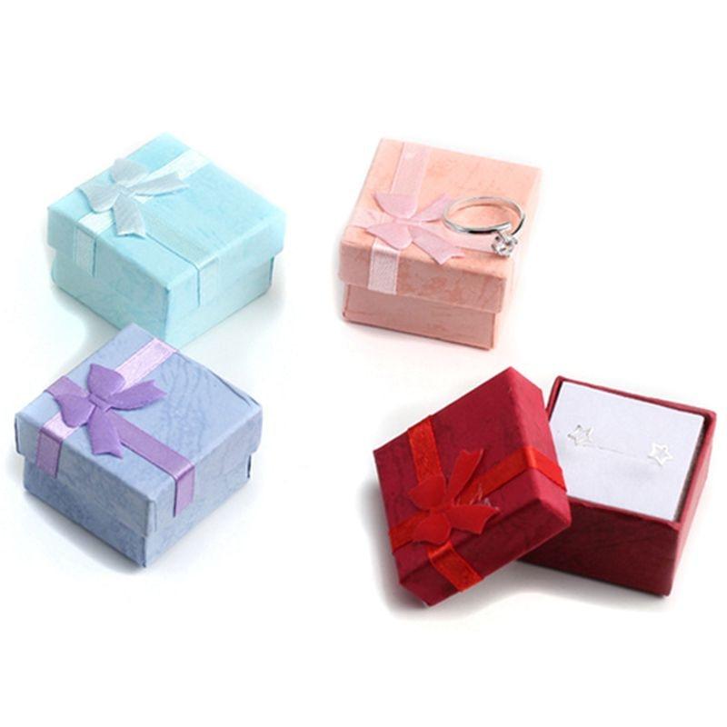 4 Stücke 4x4 Cm Hohe Qualität Schmuck Organizer Box Ringe Lagerung Box Kleine Geschenk Box Für Ringe Ohrringe 4 Farben