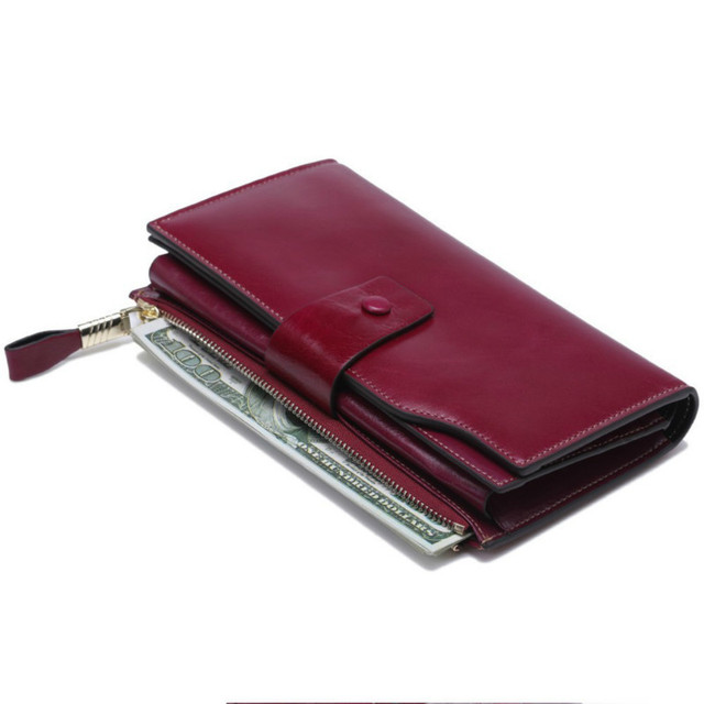 Fashion Genuine Leather Women Wallet Female Cell Phone Pocket Long Women Purses Hasp Oil Wax Leather Lady Coin Purse Card Holder 3
