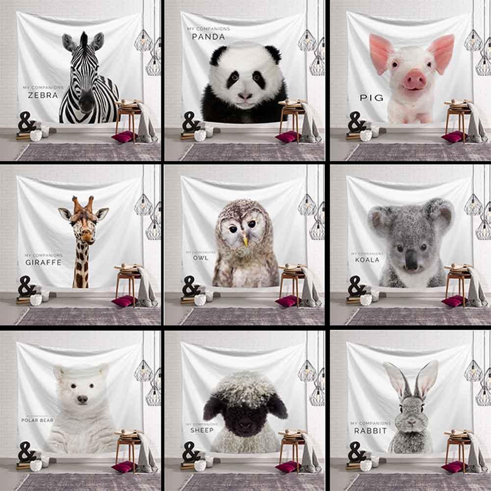 Animal Tapestry Wall Hanging Lion Elephant Deer Polar Bear Koala Yoga Mat Beach Towel Livingroom Decor Bedspread Drop Shipping