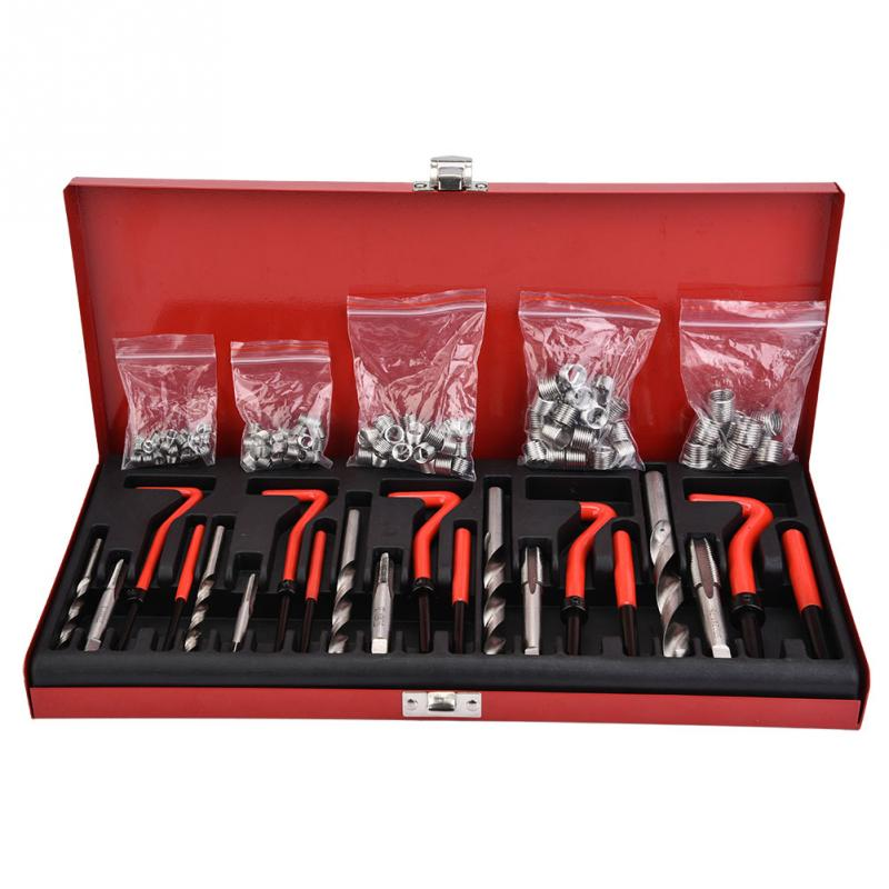 131pcs set M5 M12 Screw Threaded Inserts Drills Screw Taps Wire Insert Tang Break Tools Kit