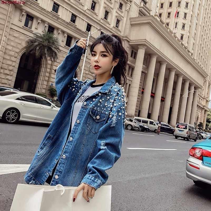 YOCALOR moda suelta cuentas agujero lavado Denim Jeans Chaqueta Mujer Streetwear otoño largo abrigo femenino embellecido